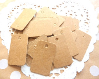 50 Small Brown Jewellery Paper Gift Tags Price Tag Crafts 3.3cm