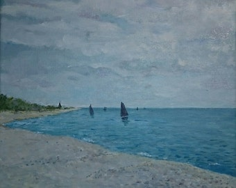 Seaside original oil painting
