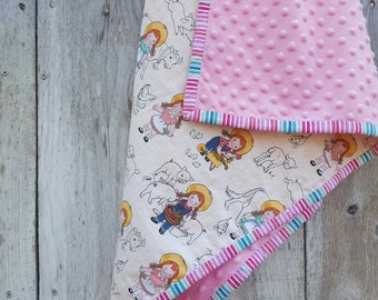Farm girl baby blanket - retro country girl baby blanket - baby shower gift - minky baby blanket