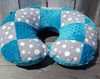 Patchwork Boppy cover-dot Boppy cover-quilted Boppy cover-teal minky-shower gift-gentral nuetral