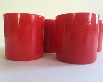 DANSK Red Plastic Mugs | Gunner Cyren | Dansk Designs GC | Set of Four