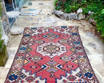 Old oriental rug woven orange red hand weed yellow background beige 193cmx120cm