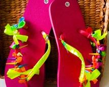 Summer Sandals, Womens Beaded Flip Flops, Gifts for Her, Beachwear Beach Accessories, Funky Flip Flops, Size EU39 US8.5, Pink Sandals, Flats