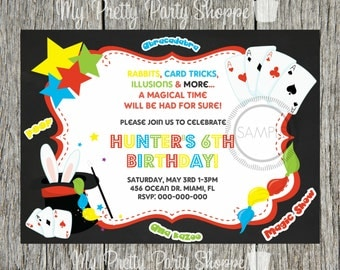 Magic / Magic Show / Magician Birthday Party Invitation