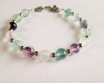 Gemstone Bracelet - Handmade Wire Wrap Rainbow Fluorite Gemstone Bracelet - Gemstone Chakra Healing - Protection Bracelet