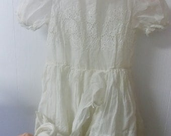 Vintage L Enfant Cotton Sheer Lawn Fabric Dress White with Floral eyelet Design and Lace Edging