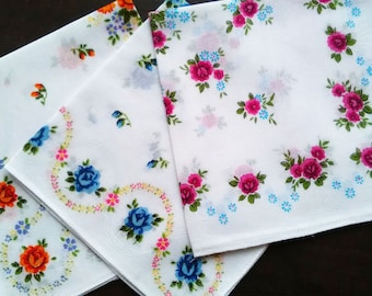 White cotton vintage handkerchiefs with roses set of three