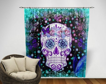 Sugar Skull  Curtains Chiffon Sheers Two Sizes  Teal Lavender Floral Frost , Butterflies