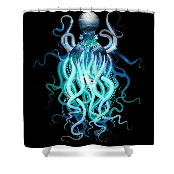 Octopus shower curtain octopus tentacles steam by folkandfunky for Tentacle shower curtain
