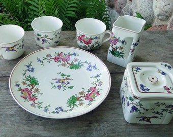 "5 pcs of Cunard Steamship Co Souvenir Tuscan China Pattern including a ""Cube"" Creamer, Small Teapot, Plate and 3 Cups-Vintage 1920s-30s"