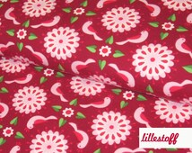 Knit Fabric, Organic Jersey Flowers & Birds by Lillestoff.  Floral Pink and Red.  Stretch Fabric