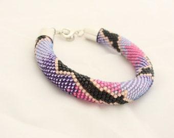 Bead Crochet Bracelet, Seed Bead Bracelet, Beadwork Bracelet, TOHO Beads, Pink Purple and Black IneseLoft
