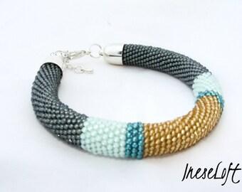 Bead Crochet Bracelet, Seed Bead Bracelet, Beadwork Bracelet, TOHO Beads IneseLoft