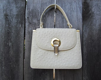 1960's Magda Makkay Cream Ostrich Leather Mini  Mod Handbag