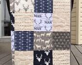 Deer baby quilt, deer, buck, arrows, navy-grey-gray-tan-brown