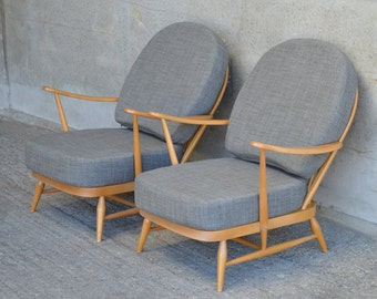 Pair of Vintage Ercol 203 Windsor Armchairs: Newly Upholstered in Soft Grey