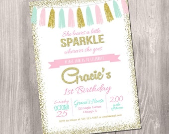 She leaves a little sparkle wherever she goes invitation, Pink gold and mint, pink and gold 1st birthday invitation, printable invitation
