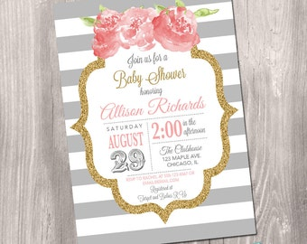 pink and grey baby shower invitation, baby shower invite, grey, pink and gold, floral, stripes, gold glitter, digital, Printable Invitation
