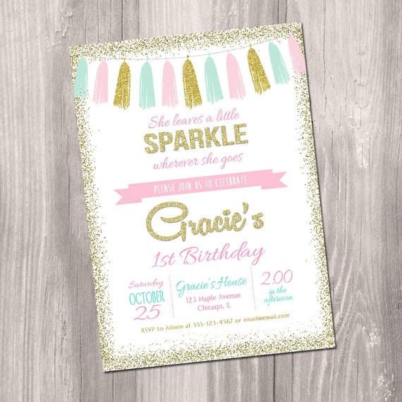 She leaves a little sparkle wherever she goes invitation Pink