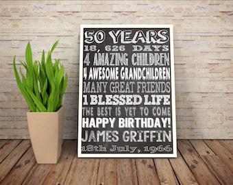 Personalised 50th Birthday Chalkboard Printable