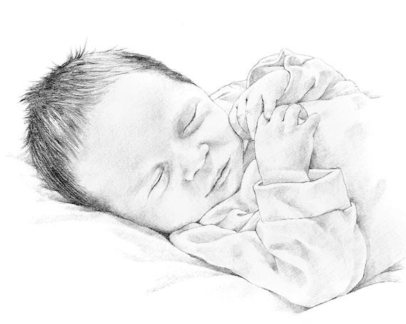 Aangepaste baby portret potlood tekening van foto. Moederdag