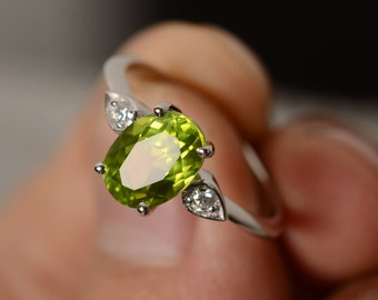 Oval Cut Peridot Ring Engagement Ring Sterling Silver August Birthstone Ring Anniversary Ring