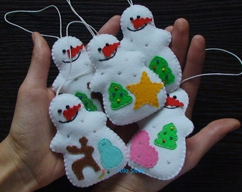 Snowman, set of 5 snowman ornament, Christmas Decorations, Christmas Felt Ornaments, Handmade Christmas Ornaments, Felt Ornament Decorations