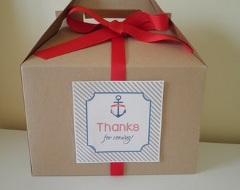 Set Of 4 Deluxe Gable Boxes With Labels & Ribbons Nautical Theme - Birthday- Shower - Wedding - Clam Bake - Nautical Favor Box - Gift Box