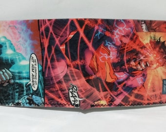 superman 2 - recycled comic book wallet - slim wallet - hanmade wallet - card holder - thin wallet - vinyl wallet - men's wallet