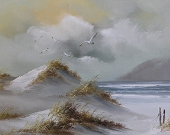 Original Oil Painting Sand Dune Beach Seagull Nautical Moody Seascape Impressionism Framed art Work Atmospheric Beach gray blue yellow white