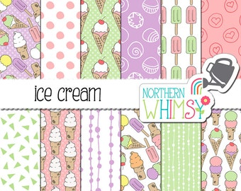 """Summer Digital Paper - """"Ice Cream"""" - pink, purple, and mint green - hand drawn ice cream cone seamless patterns - commercial use OK"""