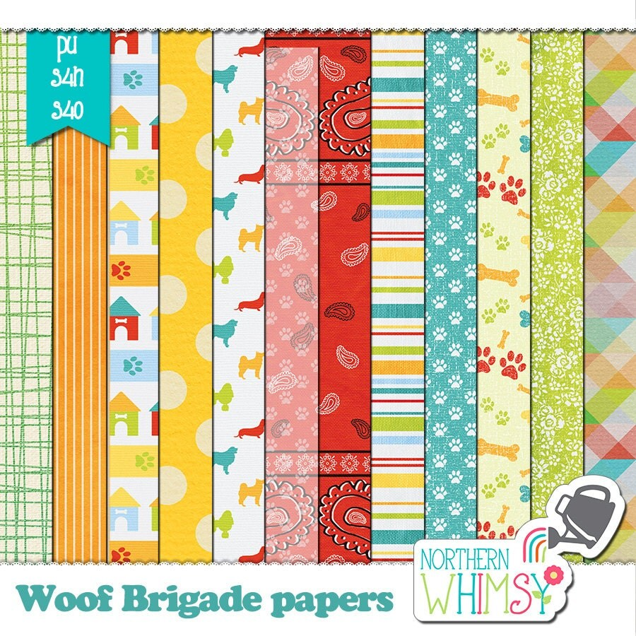 Scrapbook paper dogs - Dog Digital Paper Woof Brigade Scrapbook Kit Papers Dog Scrapbook Dog Background Dog Patterns Printable Paper S4h S4o