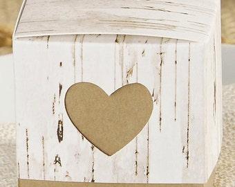 Set of 12 Birch Wedding Favor Boxes / Candy / Mint / Almonds / Life Saver / Treat / Gift / Popcorn / Bridal Shower / Favors / Mr. & Mrs.