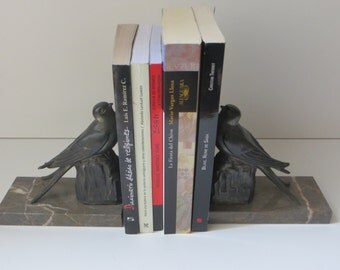 French Art Deco Bird Bookends - Spelter Bookends- Sparrows. Bird art. Art deco patina spelter sculpture
