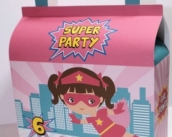Pink Super Hero Birthday Treat Boxes-Pink Super Hero Treat Boxes-Super Hero Treat Boxes-Classroom Party Boxes-Gift Boxes-Birthday