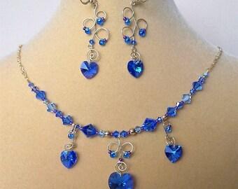 Gold Filled Chain Swarovski Bermuda Blue Heart Necklace Earring Set
