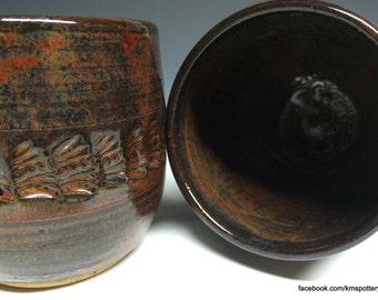 Pair of Ceramic Tumblers - Vintage Stamped - Handmade