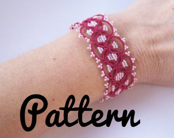 Bracelet tatting pattern cuff shuttle tatting pattern or needle tatting pattern - shuttle tatting tutorial included DIY frivolite pattern