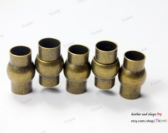 4 sets 8mm Inner Hole Antique Bronze Magnetic Clasp with Safe Bar Middle MT8M-509
