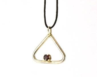 Sterling silver triangle pendant with red garnet, silver and garnet pendant