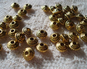 100 Antique Golden Bicone Spacers. 5x3.5mm. Or Choose New Gold!  Small Gold UFO Spacer. Vintage Style Tiny Gold Spacer.  USPS Ship Rates/OR