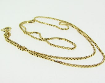 14 K gold box link chain necklace