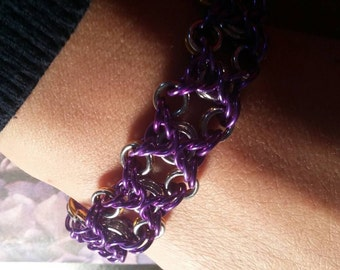 Purple Silver/Gold Reversible Sideways Byzantine Bracelet