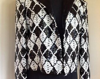 Black and white vintage sequin blazer size m/l