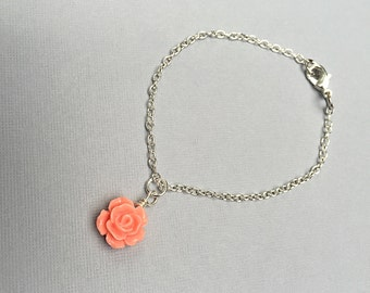 Rose Flower Girl Bridesmaids Bracelet Wedding Jewelry