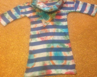 Women's Size Small Tie Dye Striped T-Shirt With Bandana Collar