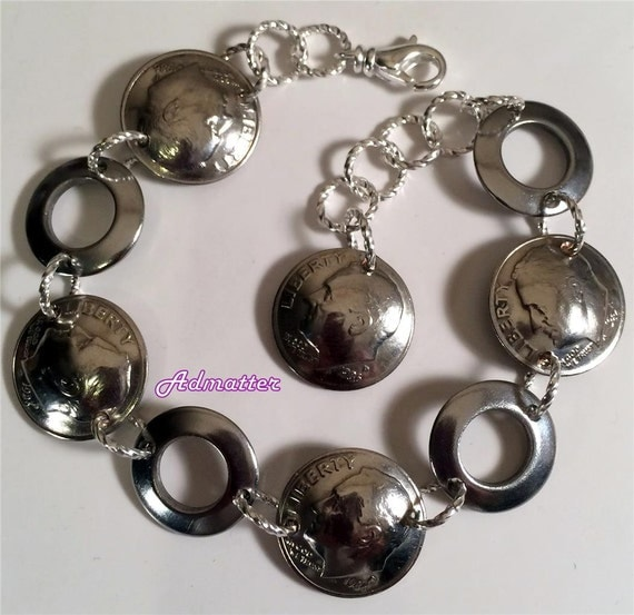 50th Birthday Gift 1967 Dime Bracelet 50thAnniversary Gift