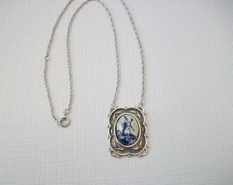 Sarah Coventry Katrina Pendant Necklace, Vintage Delft Holland Dutch Windmill Necklace, Silver Tone Costume Jewelry