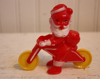 Vintage Rosen Rosbro Santa on Motorcycle Candy Holder, Hard Plastic, Santa Candy Holder and Toy, 1950s Santa Figurine, Rosen Rosbro Santa