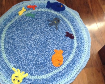 Tummy time is fun with crochet fun rugs